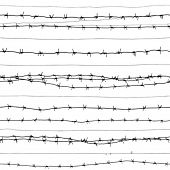 stock photo of barbed wire fence  - barbed wire  - JPG