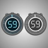 Постер, плакат: Electronic Digital Stopwatch Timer 59 Seconds Isolated On Gray Background Stopwatch Icon Set Time