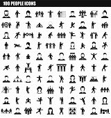 100 People Icon Set. Simple Set Of 100 People Vector Icons For Web Design Isolated On White Backgrou poster
