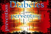 foto of diabetes symptoms  - Word cloud concept illustration of Diabetes and preventing - JPG