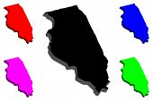 3d Map Of Illinois (united States Of America) - Black, Red, Purple, Blue And Green - Vector Illustra poster