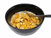 Crispy And Healthy Organic Breakfast Cereal Flakes With Red Dried Cranberry And Cold Soy Milk In Dar poster