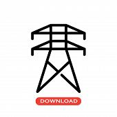 Electrical Tower Vector Icon Flat Style Illustration For Web, Mobile, Logo, Application And Graphic  poster
