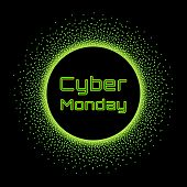 Cyber Monday Sale Vector Banner Concept. Graphic Design Template In Trendy Acid Colors, Bright Green poster
