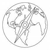 Compass On Earth Icon. Outline Illustration Of Compass On Earth  Icon For Web poster