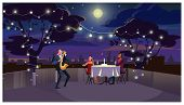 Couple At Romantic Dinner Vector Illustration. Lovers Sitting At Table And Listening To Saxophone Pl poster