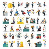 Business People Characters Collection. Cartoon Businessman In Various Poses. Motivation, Leadership, poster