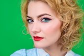 Closeup Portrait Of Woman With Bright Pin Up Make Up. Pin-up Clothes. Portrait Of Sensual Blond Pin  poster