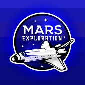 Mars Expedition Logo Concept With Space Shuttle. Space Mission Badge For  For Expeditions, Events, A poster