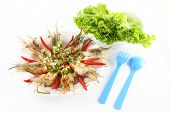 Meal of spicy dressed salad prawn poster