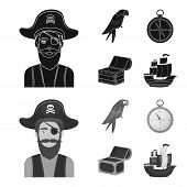 Pirate, Bandit, Hat, Bandage .pirates Set Collection Icons In Black, Monochrom Style Vector Symbol S poster