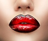 Lips make-up. Beauty high fashion trendy black with red colour gradient lips makeup sample, sexy mou poster