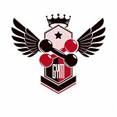 Bodybuilding Weightlifting Gym Logotype Sport Template, Vintage Style Vector Emblem With Wings. poster