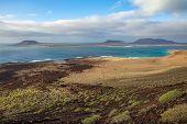 Beautiful Seascape Of Volcanic Island Lanzarote, Canary Islands, Spain. Travel Destination. Sea Back poster