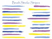 Scribble Ink Brush Stroke Stripes Vector Set, Violet Horizontal Marker Or Paintbrush Lines Patch. Ha poster