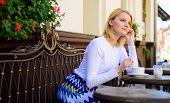 Enjoy Her Life. Woman Blonde Dreamy Smiling Face Enjoy Having Coffee, Urban Background Defocused. Wh poster