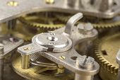 Macro Shot Of Clockwork Gears Inside The Old Watch poster