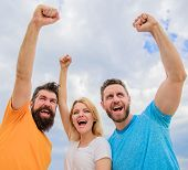 Woman And Men Look Confident Successful Sky Background. Behaviors Of Cohesive Team. Celebrate Succes poster