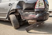 Car Is Broken Back. Bumper, Headlight, Body And Wheels Broken poster