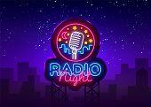 Radio Night Neon Logo Vector. Radio Night Neon Sign, Design Template, Modern Trend Design, Radio Neo poster