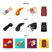 Basketball And Attributes Cartoon, Black, Flat Icons In Set Collection For Design.basketball Player  poster