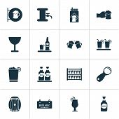 Alcohol Icons Set With Placard, Lever, Brewery And Other Drink Elements. Isolated Vector Illustratio poster