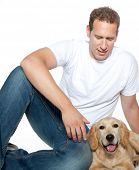 man with dog golden retriever purebred puppy isolated on white poster