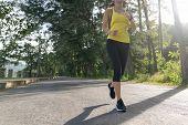 ํyoung Fitness Sports Woman Runner Running On Tropical Park Trail, Young Fitness Woman Running At Mo poster