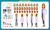 Scientist Character Creation Set. Woman Works In Science Laboratory At Experiments. Full Length, Dif poster