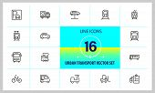 Urban Transport Icons. Set Of  Line Icons. Tram, Bicycle, Parking. Vehicle Concept. Vector Illustrat poster