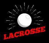 Vector Lacrosse Sport Ball Logo Icon Sun Burtst Print Hand Drawn Vintage Line Art Design poster