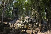 Ancient Ruins Of Krol Ko Temple In Angkor Wat Complex, Cambodia. Demolished Stone Pile In Tropical F poster