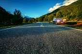 Tourist Drive Traveling In Aspiring National Park Southland New Zealand poster