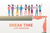Break Time Concept. Gesture As A Symbol Of A Break In Work. Vector Illustration Flat Design Style. G poster
