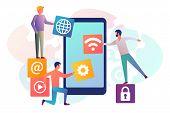 Interface Development, Design Mobile App. Mobile Technology. Team Small People, Programmer Building  poster