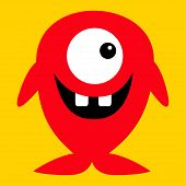Cute Red Monster Icon. Happy Halloween. Cartoon Colorful Scary Funny Character. One Fish Eye, Tooth. poster