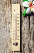 Thermometer On The Wooden Wall poster
