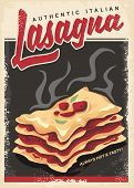 Lasagna Retro Promo Poster Design Template. Authentic Italian Food Menu With Hot And Tasty Lasagna   poster