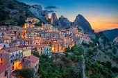 Castelmezzano, Italy. Cityscape Aerial Image Of Medieval City Of Castelmazzano, Italy During Beautif poster