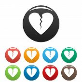 Broken Heart Icon. Simple Illustration Of Broken Heart Icons Set Color Isolated On White poster