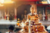 Old Golden Buddha In Thai Temple Culture Traditional Art In Asia poster