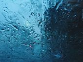 Heavy Raining Season Cool Tone Blue Chill  Quiet Calm Inside Car View From Windshield Glass poster