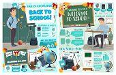 Back To School Posters With Student At Desk Or Near Locker, Stationery For Education. Geometry And G poster