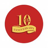 10 Anniversary Sign. Element Of Anniversary Sign. Premium Quality Graphic Design Icon In Badge Style poster