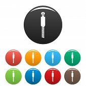 Coat Zip Icon. Simple Illustration Of Coat Zip Icons Set Color Isolated On White poster