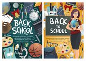 Back To School Banners With Geography Teacher And Blackboard, Stationery And Sport Items. Basketball poster