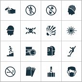Safety Icons Set With Light, High Voltage, Hand Protection Cigarette Forbidden Elements. Isolated Ve poster