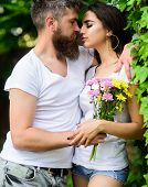 Man Bearded Hipster Hugs Gorgeous Girlfriend. Couple In Love Going To Kiss. Pleasant Romantic Kiss.  poster