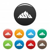 Extreme Mountain Icon. Simple Illustration Of Extreme Mountain Icons Set Color Isolated On White poster