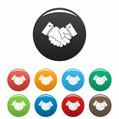 Hand Peace Icon. Simple Illustration Of Hand Peace Icons Set Color Isolated On White poster